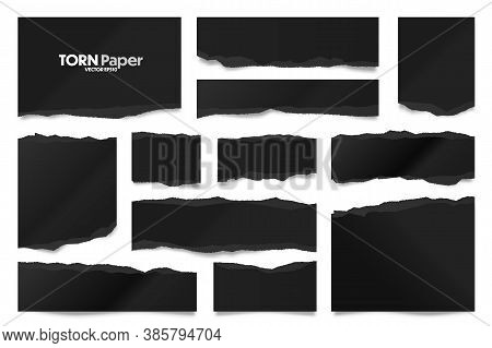 Ripped Black Paper Strips. Realistic Crumpled Paper Scraps With Torn Edges. Shreds Of Notebook Pages