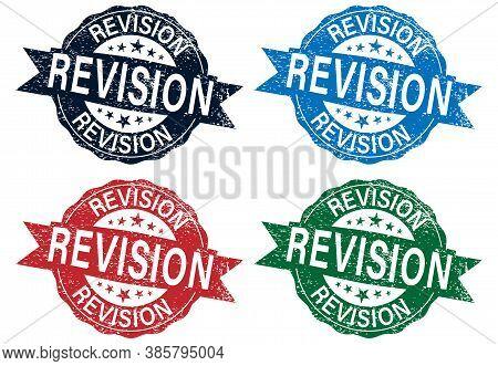 Revision Sign Or Stamp Set On White Background, Vector Illustration