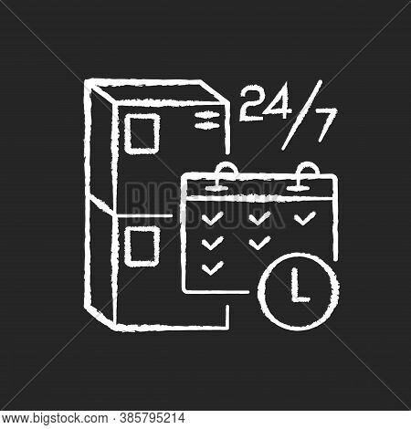Schedule Package Pickup Chalk White Icon On Black Background. Mail Service Organization, Postal Logi