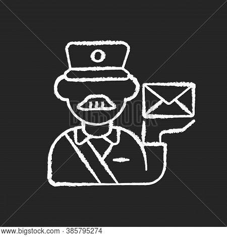 Postman Chalk White Icon On Black Background. Professional Mailman, Mail Deliverer. Postal Service,