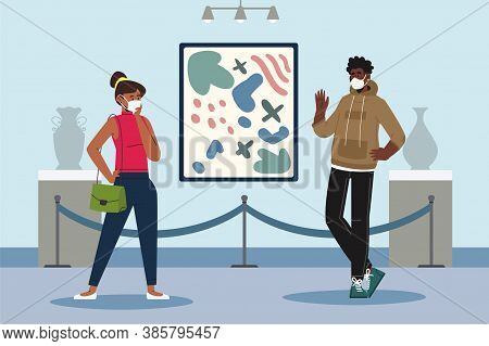 Visitors Of Classic Art Gallery Or Museum Viewing Exhibits. People Or Tourists Looking At Paintings