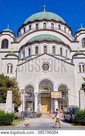 Belgrade / Serbia - September 13, 2020: Construction Work On The Saint Sava Church, One Of The Bigge