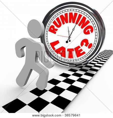 Running Late words on clock runner behind time as crosses finish line and loses the race due to slow speed