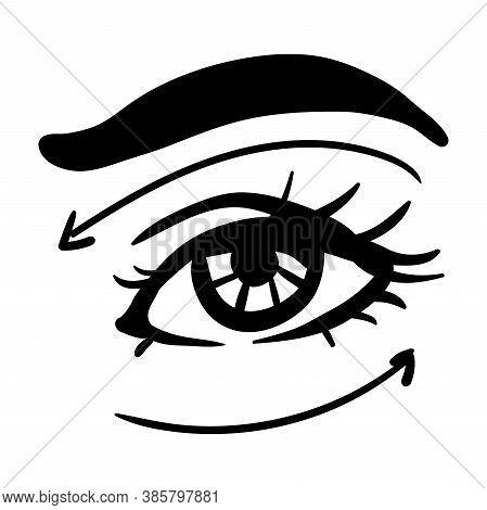 Black Contour Simple Illustration Of Woman Eye. Arrows Of Massage Lines
