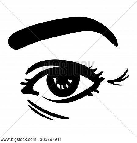 Black Simple Line Illustration Of Woman Eye, Age Wrinkles Demonstraiton