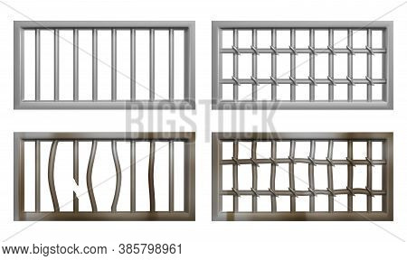 Prison Window With Metal Bars And Grate. Vector Realistic Set Of Window Grid Of Steel Rods In Jail C