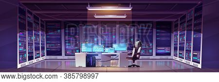 Data Center Room With Server Hardware, Chair And Desk With Computer Monitors. Vector Cartoon Interio