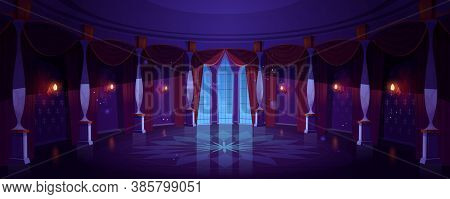 Castle Ballroom, Night Empty Palace Hall Interior With Glowing Lamps, Floor-to-ceiling Window And Cu