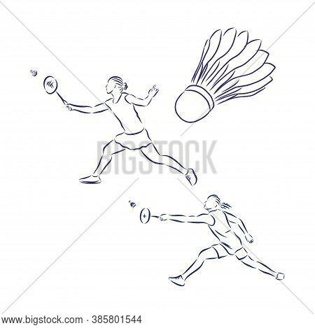 Vector Illustration Of Badminton Player. Black And White Badminton . Badminton, Vector Sketch Illust