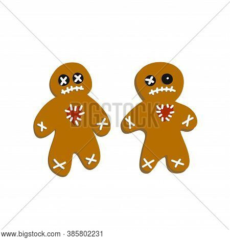 Collection Of Halloween Gingerbread Men. Cookie Set. Popular On Selected Desserts, Sweets For Childr