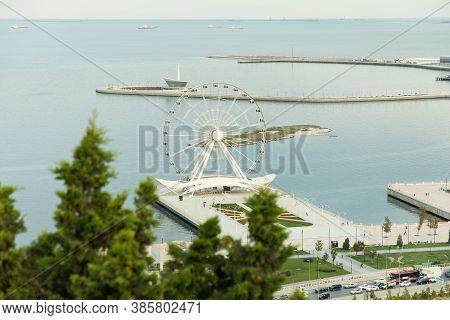 Baku / Azerbaijan - 09-15-2020: Baku Eye, Baku Ferris Wheel Wide Angle