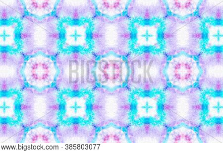 Seamless Aquarelle Pattern. Watercolor Painted Material Design. Blue, Pink, Purple And White. Abstra