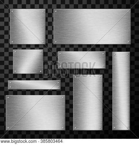 Metal Plates, Plaque Wide And Narrow Realistic Set. Rectangular Sheets. Metallic Boards.