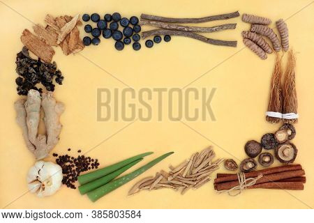 Adaptogen health food border with natural plant based herbs, spices & foods that help the body deal with stress &  promote or restore normal physiological functions. On mottled yellow background,