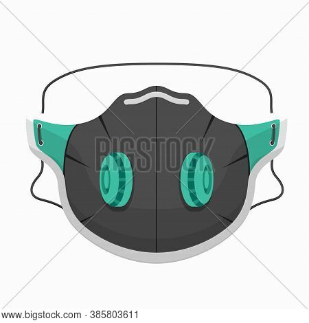 Breathing Mask With Exhalation Valves Covering Mouth, Nose. Face Protective Device. Respirator.