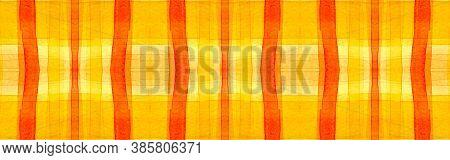 Yellow Tartan Background. Watercolour Plaid Repeat. Retro Traditional Squares For Fabric Design. Sea