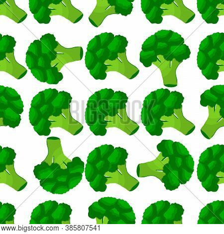 Illustration On Theme Of Bright Pattern Grass Broccoli, Vegetable Plant For Seal. Vegetable Pattern