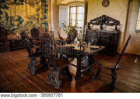 Castle Interior. Old Dining Room With Renaissance Furniture, Table And Chairs. Castle Grabstejn, Anc