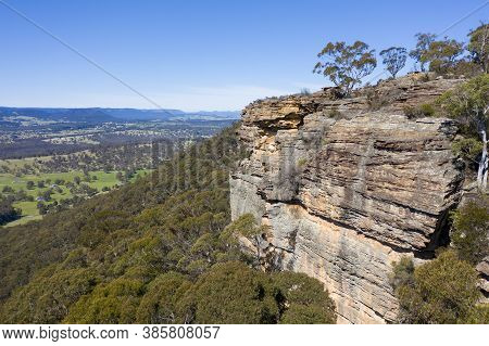 Aerial View Of The Rocks At Hassans Walls Near Lithgow In The Central Tablelands In Regional New Sou