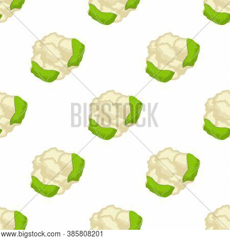 Illustration On Theme Of Bright Pattern Cabbage, Vegetable Cauliflower For Seal. Vegetable Pattern C