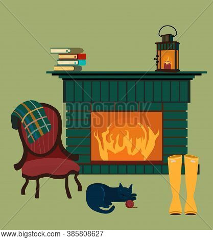 Living Room Interior With Fireplace,vintage Empire Armchair With Checkered Plaid.autumn Cozy Atmosph