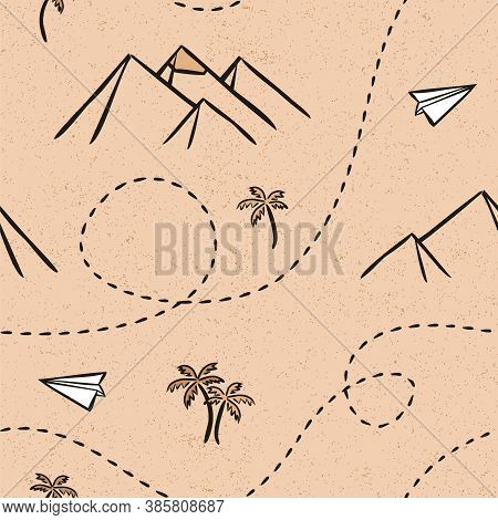 Desert Seamless Vector Pattern. Travel Map. Egyptian Pramids. Hand-drawn Traveler's Path. Geographic