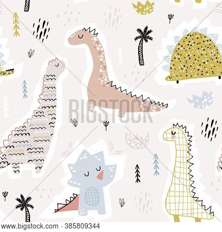 Childish Seamless Pattern With Hand Drawn Funny Dinosaurs. Creative Vector Childish Background For F