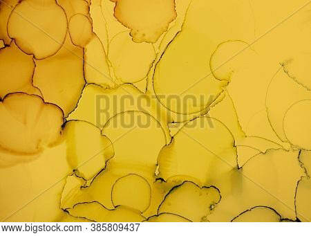 Black And Yellow Abstract Marble Surface. Color Fluid Wallpaper. Watercolor Motion Concept. Golden I