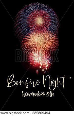 Bonfire Night Or Guy Fawkes Day, 5th November, Card With Fireworks