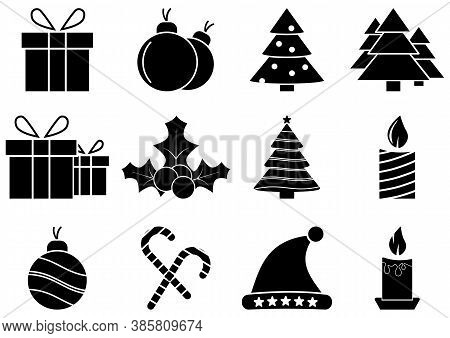 Christmas Icons Set. Holidays Graphics. Set Of Winter Related Vector Flat Icons. Premium Linear Symb