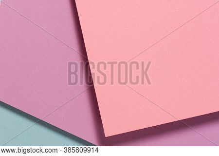 Abstract Color Papers Geometry Flat Lay Composition Background With Pink, Purple, Blue Color Tones