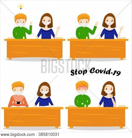 Pupils Are Sitting At A Desk In Mask, Set. Children Sitting In School In Mask. Boy And Girl. Childre