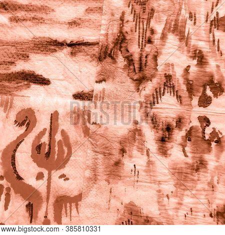 Splash Tie Pattern. Tan Dirty Art Pattern. Tie Dye Watercolor Pattern. Coffee Tie And Dye Fabric. Ta