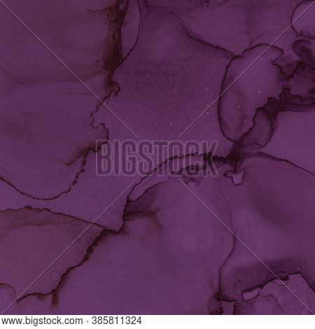 Burgundy Wine Illustration. Watercolour Winery Template. Abstract Painted Stains. Purple Ink Paper.