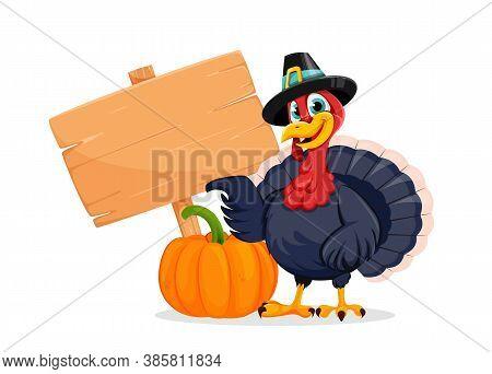 Happy Thanksgiving Day. Funny Thanksgiving Turkey Bird Cartoon Character Standing Near Pumpkin And W