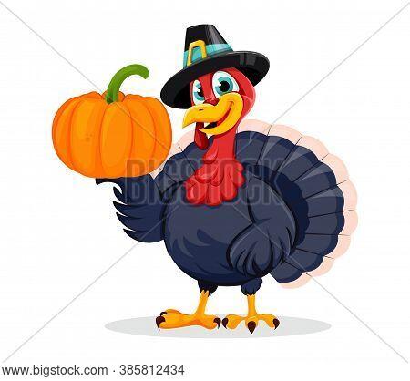 Happy Thanksgiving Day. Funny Thanksgiving Turkey Bird Cartoon Character Holding Pumpkin. Vector Ill