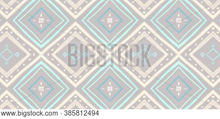 Seamless Ethnic Ornament. Abstract Ikat Texture With Hand Drawn Stripes. Pastel Watercolour Shibori
