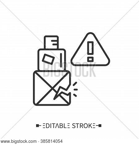 Damage Package Line Icon. Fragile Package. Transportation, Storage And Logistics Service. Inventory