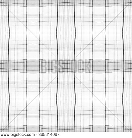 Black And Gray Scottish Check. Watercolor Tartan Flannel. Wool Geometric Stripes For Fabric Print. S