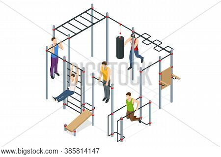Isometric Sportsmen Making Workout, Pull-ups, Barbell, Push-ups, Weight Lifting, Dumbbell Training.