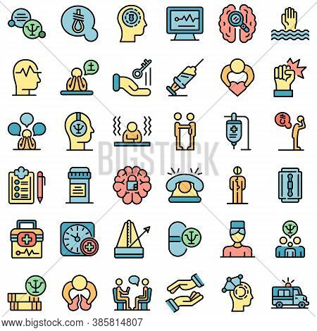 Supporting Mental Health Icons Set. Outline Set Of Supporting Mental Health Vector Icons Thin Line C