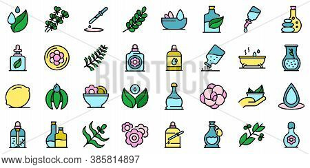 Essential Oils Icons Set. Outline Set Of Essential Oils Vector Icons Thin Line Color Flat On White