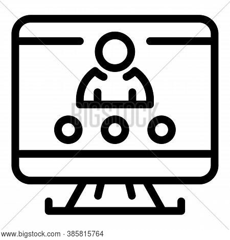 Pc Monitor Online Meeting Icon. Outline Pc Monitor Online Meeting Vector Icon For Web Design Isolate