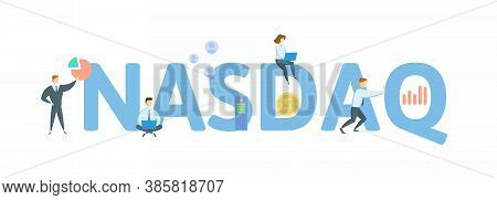 Nasdaq, Stock Market. Concept With Keywords, People And Icons. Flat Vector Illustration. Isolated On