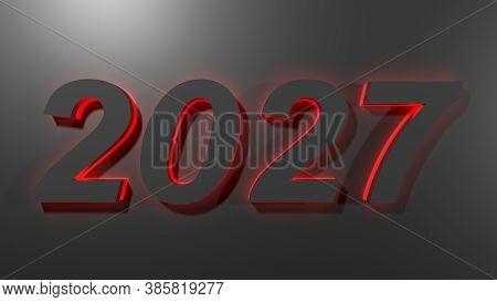 2027 Black Write On Black Surface With Green Backlight - 3d Rendering Illustration