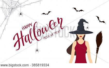 Beautiful Witch With Vampire Teeth And Black Hat With Spider And Broom. Lettering Happy Halloween An