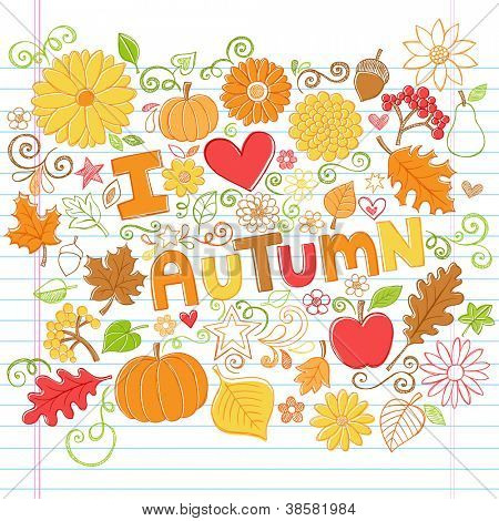 I Love Autumn Back to School Style Sketchy Notebook Doodles with Pumpkins, Leaves, and Fall Flowers- Hand-Drawn Vector Illustration Design Elements on Lined Sketchbook Paper Background
