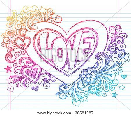 Love Lettering Heart Back to School Sketchy Notebook Doodles with Flowers, Stars, Swirls- Hand-Drawn Vector Illustration Design Element on Lined Sketchbook Paper Background