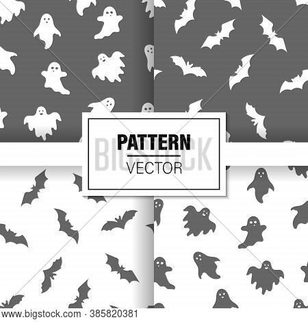 Halloween Background. Concept Of Halloween Patterns Ghosts And Bats. Patterns Set. Vector Illustrati