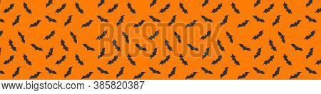 Halloween Pattern Concept. Happy Halloween Background. Halloween Pattern, Bats On Orange Background.